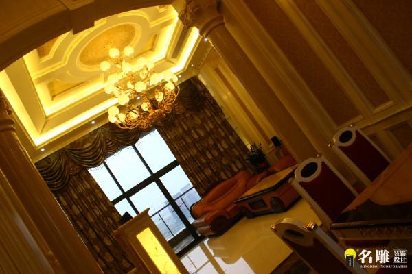 名雕装饰设计-宏发领域复式楼阁-简欧风格客厅远景图