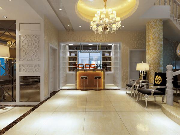 酒柜与吧台的设计通过欧式线条的装饰时尚大方,圆柱与墙面墙纸的色调统一而温馨。