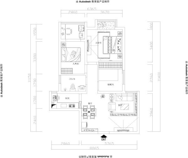 郑州实创装饰-升龙国际96平两居室-平面布置图