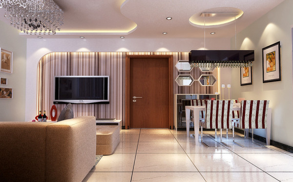 郑州实创装饰-升龙国际96平两居室-客厅效果图