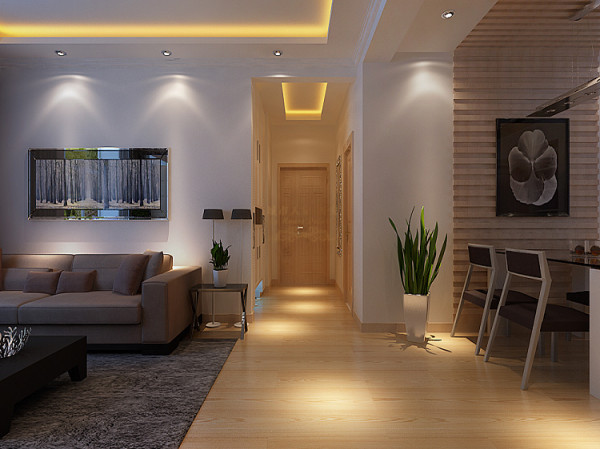 过道  餐厅的灯光很重要既不能太强又不能太弱,灯光则以温馨和暖的黄色为基调,顶部做了简单的吊顶。墙面贴了局部生态木,可以增加以下餐厅的情调。餐厅的垭口用实木套做了装修。