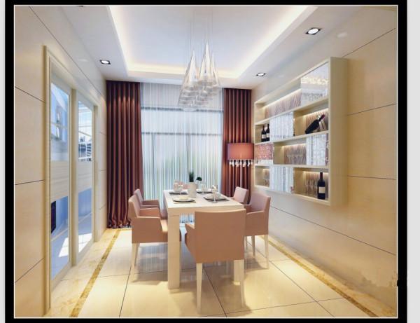 郑州实创装饰-蓝天小区120平三居室-餐厅效果图