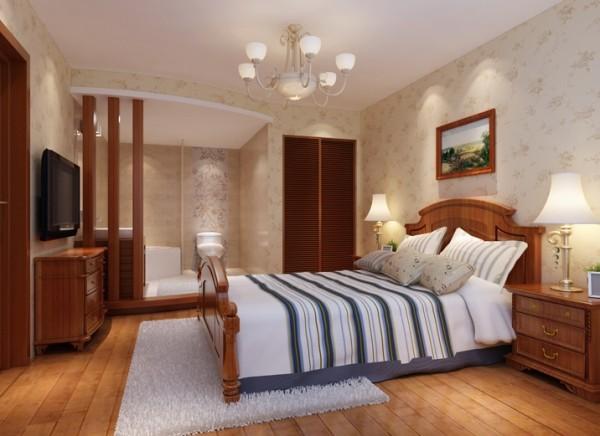开放卫生间的主卧室设计理念:卧室空间不大,利用开放卫生间的空间使整个卧室视觉上有了延伸感。亮点:借用了卫生间做了衣帽间的同时让卧室有了视觉上的改变。