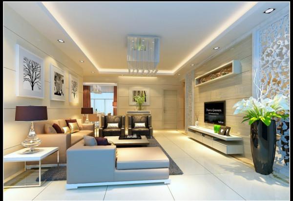 郑州实创装饰-蓝天小区120平三居室-客厅效果图