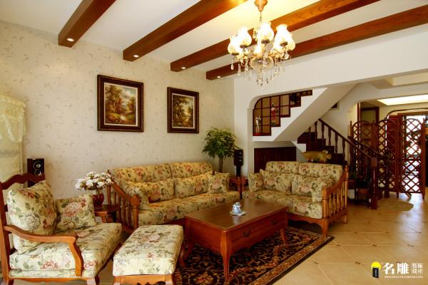 名雕丹迪设计-硅谷别墅-美式风格-客厅沙发背景