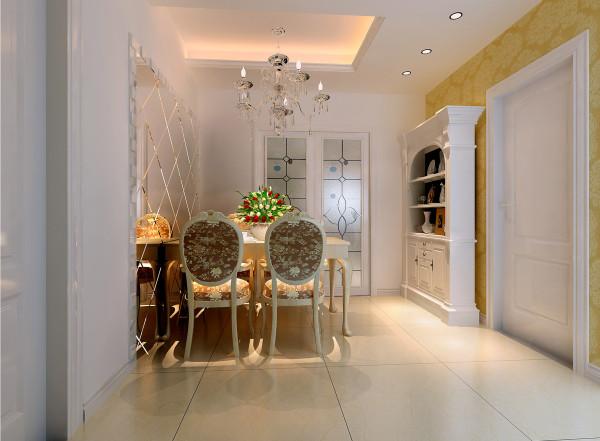 空间多以白色为主,有搭配米黄色壁纸,使空间显得不单调,独具造型的装饰银镜,使空间显得温馨、优雅,餐桌上的花束点缀拉伸了层次。