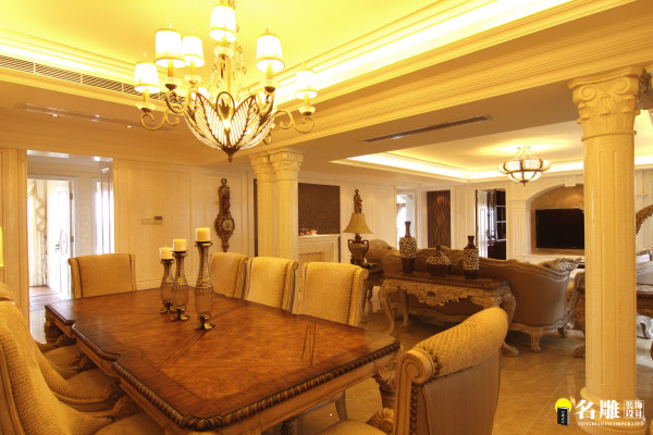 名雕装饰设计-中信红树湾三居-欧式餐厅奢华吊灯