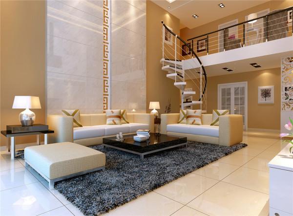 沙发背景墙上两条白色瓷砖带精美透亮,深灰的时尚地毯托举出一组米色沙发,高贵大气。