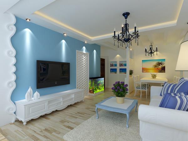 客厅顶部用简单的造型,让整个空间起到一定的拉伸效果,在筒灯的照射下,显得墙面与顶面格外分明,白色的家具与顶面的白色,与地中海的主题蓝白色形成一体。很和谐。自然。