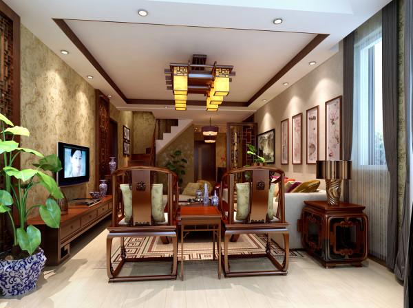 设计理念:简单和造型配上中式家具,中的风格便淋漓尽致的展现出来。 亮点:吊顶的实木圈边和电视的的实木雕花和谐统一,使得新中式的元素多而不乱。