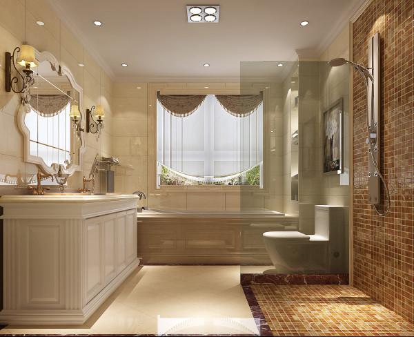 别墅新中式风格天溪园卫生间装修效果图片_装修美图图片