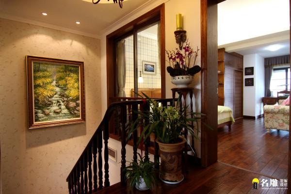 名雕丹迪设计-硅谷别墅-美式风格-二楼楼梯景观