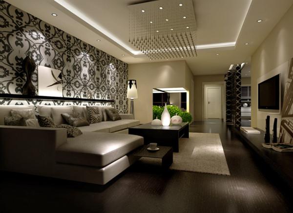 客厅墙面以灰色为主,搭配浅色家具,使空间色调明快。 浅色布艺沙发搭配方形水晶吊灯,坐起来舒适而不失美观,颜色均较清雅,更能体现出起居室整体简约、和谐。