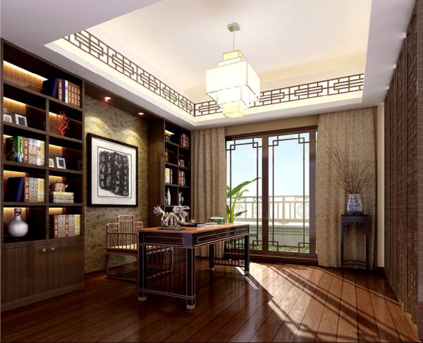 书房的设计中式感觉的对称凸显出来