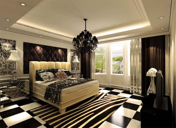 面积不是很大的卧室,选用了造型床作为大床,使有限的空间展现了无限的遐想。整体颜色对比明快,配上挂墙的装饰架作为展示书架,既满足了实用性又加强了美观感。