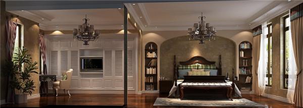 主卧效果图:整个卧室宽敞、明亮。卧室靠近窗户有利于提升卧室舒适度,同时,设有书房可以满足主人阅读需求!