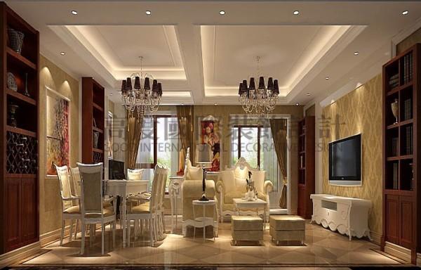 厅里摆西式风格的沙发,电视背景墙上与沙发背景墙上对称挂一幅中国山水画等,传统的书房里自然少不了书柜、书案以及文房四宝。 中式与西式风格相结合的客厅具有内蕴的风格,并且不缺乏时尚感。