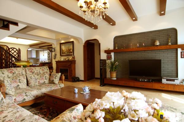 名雕丹迪设计-硅谷别墅-美式风格-客厅电视背景
