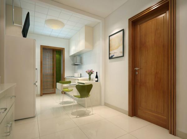 一体式独特餐厅果绿色和白色搭配,使得空间紧凑感不见,加大空间感,达到小空间的扩大设计。作为餐厅电视和餐桌必不可少,但由于空间太小,所以电视悬于冰箱上方,节约空间,餐桌折叠于橱柜处。