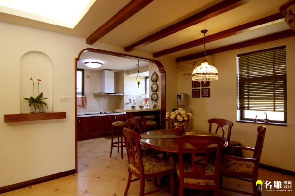 名雕丹迪设计-硅谷别墅-美式风格-厨房-餐厅全景