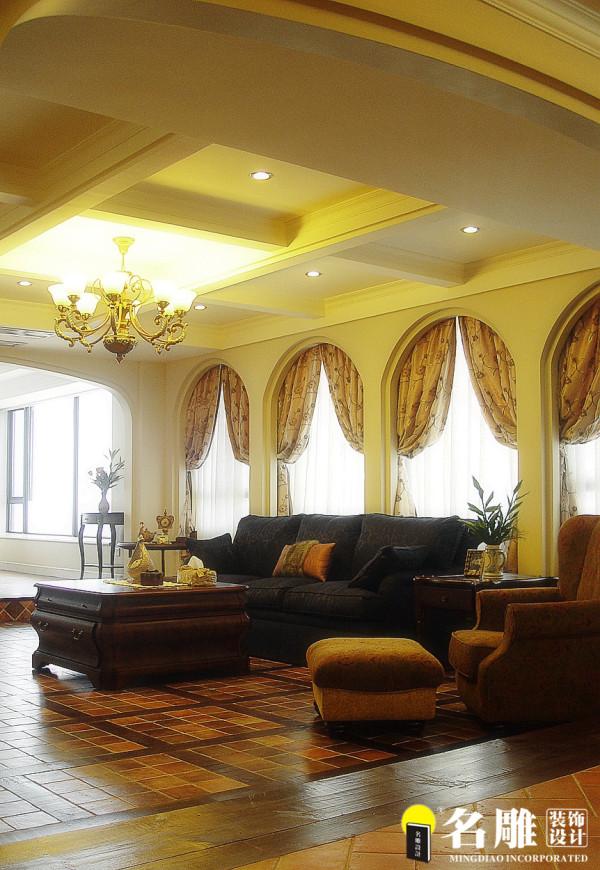 名雕装饰设计-中信红树湾三居室-地中海风格客厅