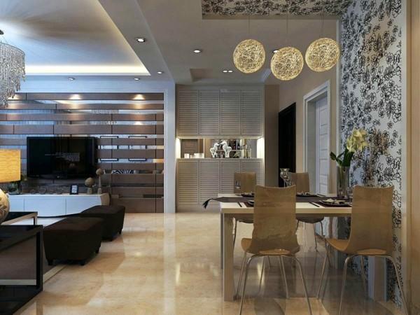 简单的餐桌椅靠墙面摆放,花纹壁纸和造型别致的灯饰使就餐空间不至于太过单调。