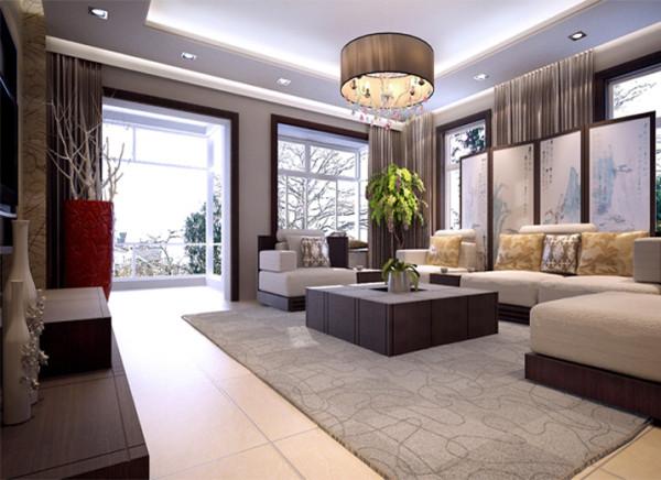 """客厅主体色为深胡桃木色,竖型木格栅有序排列增加房间高度感;茶几及背景墙设计借鉴中式传统符号''回纹""""造型,典雅规整互相呼应,寓意福寿吉祥,长远绵连。"""
