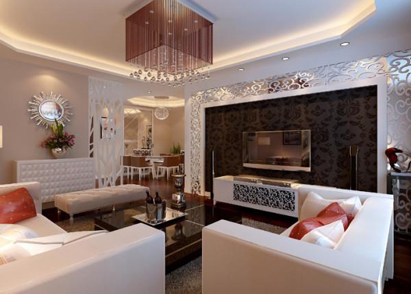 电视背景墙的镂空处理给温婉现代的起居室添了份典雅与华丽