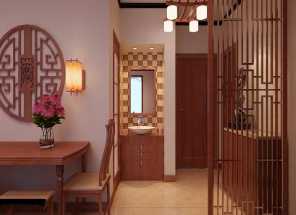 在中式设计里,玄关的设计是比较重要的,既是风水学上的要求,又满足了进门柜的需求。