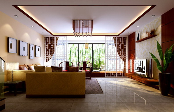中国传统美学设计/120平两居室中式装修案例欣赏