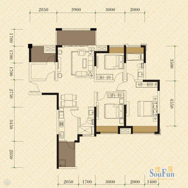 成都实创装饰—绿地世纪城117平米A2户型—新古典风格—绿地世纪城117平米A2户型图