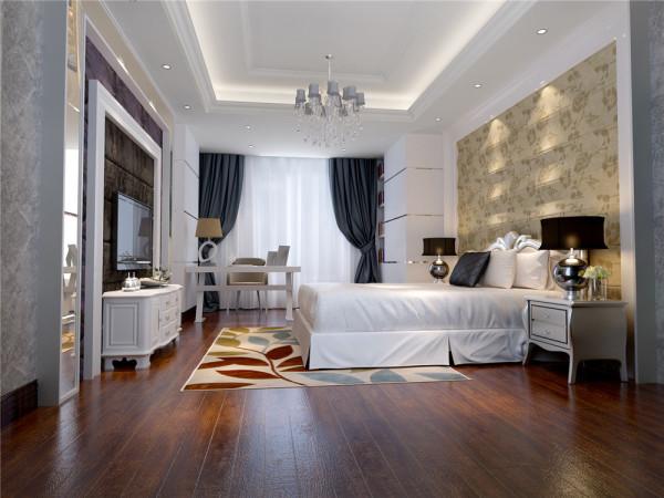 卧室20平米的浪漫温馨卧室的整体效果既奢华又不失温馨,电视背景和床头背景均采用软包和混油板材。混油板材的花纹和吊顶的石膏顶角线巧妙地相结合,整体的色调浪漫,但又不失色彩的稳重。