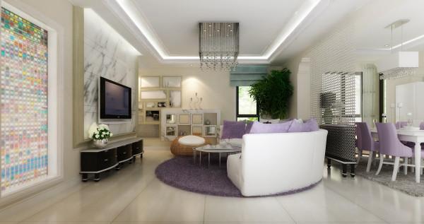 电视墙上的爵士白设计,和阳台彩色玻璃门,让空间在光影的折射下更显通透、宽敞。墙面上的边柜与画框巧妙的结合,让空间感更加立体。就餐区以曼妙的手笔勾勒空间,突出家居主人的个人风格。