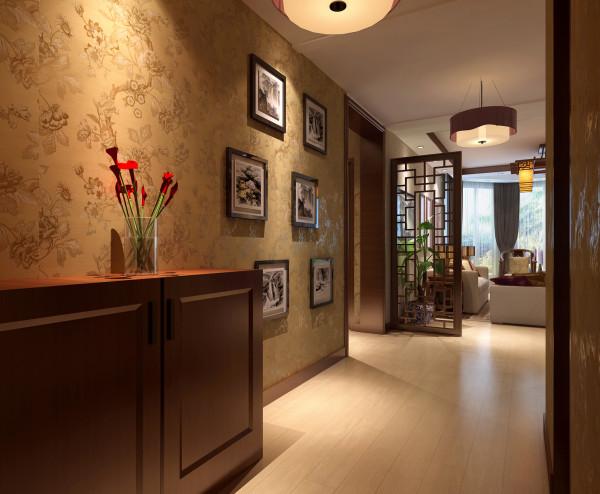 设计理念:满足进门需求和同时,还要有开门见景的意境。 亮点:一进门映入眼帘的中式装饰画及中式雕花,小小装饰为中式风格垫定的基础。