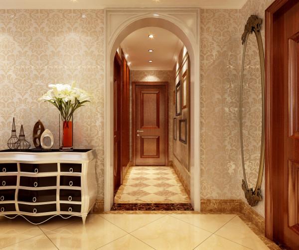 设计理念:进入走廊的哑口突出欧式的拱形,配合高档壁纸张显大气,走廊墙壁上的画框给人无限遐想,色调统一杂而不乱.