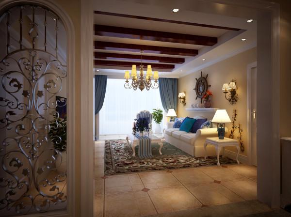 浪漫现代欧式客厅:海沙般细腻的鹅黄色、海水般浓郁的湛蓝、云朵般纯粹的洁白,巧妙撞色,让灵动的自然气息呼之欲出。