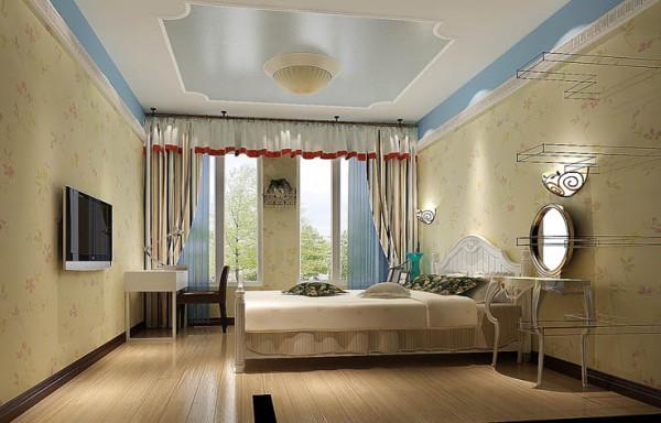 ;主卧室用田园配饰与田园式家具来打造优雅细腻的休息空间!整个房子的设计,达到整体中有细节,细节中体现整体!