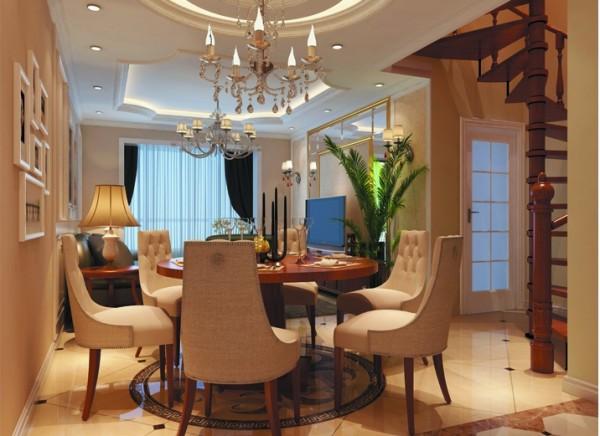设计理念:顶面圆形的吊顶与餐桌的相互呼应,巧妙的区分了空间让人感觉很温馨。