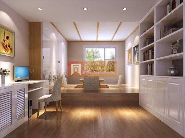 白色的书柜,实木的榻榻米,书房简洁明亮。