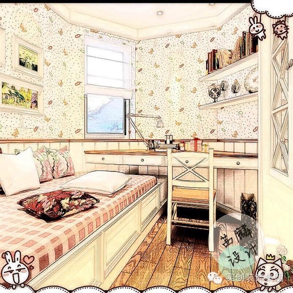 本案次卧室面积很小,在功能上除必要的床外,增加了儿童使用的书桌和书柜,在开关和插座上也做了一些不同寻常的设计。小卧室在原有的6.4平米增加到7.4平米在空间感上更加宽敞好用