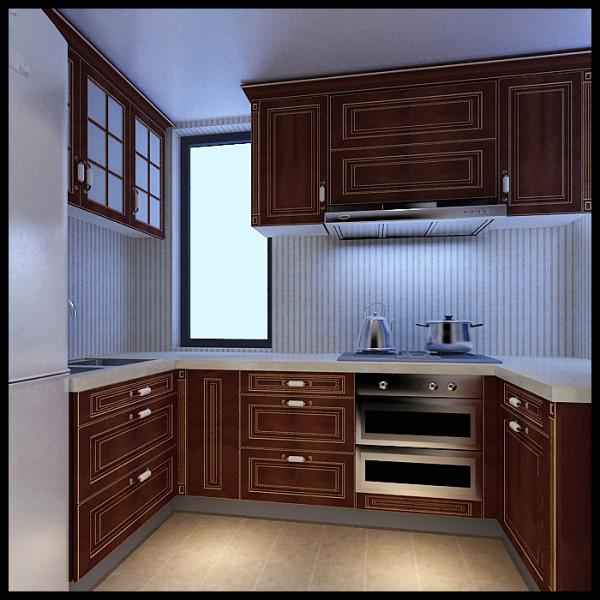由于厨房的空间较小,设计师设计的地柜与吊柜巧妙的把空间充分的利用起来,在小的空间里做出最大的成效。