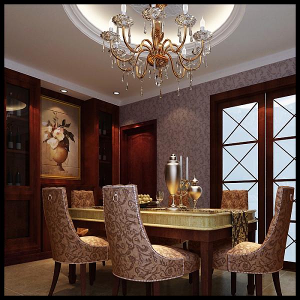 整个餐厅的空间较小, 但通过墙体的拆改更好的利用其有效资源放置美观又实用的特色酒柜。吊顶的造型与餐桌的摆放位置相呼应,使其整个空间和谐统一。