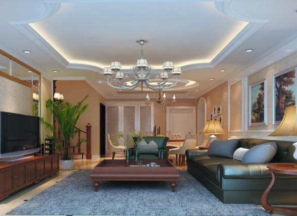 设计理念:沙发背景墙的造型很巧妙的包函了挂画,吊顶的设计充分体现了欧式风格的元素,流畅的线条,曲面的造型,电视墙的银色镜面增加了空间的明亮度,沙发和电视柜的搭配也体现了欧式的豪华大气的特点。