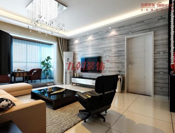 客厅阳台:整个起了地台,地面采用了跟电视墙同材质的颜色,有了很好的连贯性