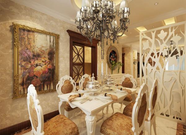 有故事的装饰画,餐边柜,显得空间格外别致,餐桌旁边的窗户、窗帘分别起解决采光与装饰的作用。