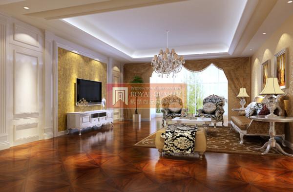 黄色的背景墙,加上奢华的水晶灯让整个空间看起来气势恢宏,沙发的造型线条柔和精美,整个客厅显得空间宽敞舒适。