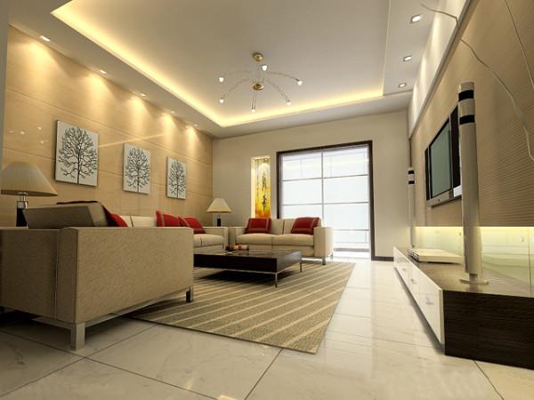成都实创装饰—整体家装—现代简约风格装修参考—客厅装修效果图