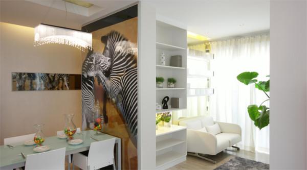 整个设计重点从餐厅开始发展,将餐厅摆置于空间的视觉焦点,如此一来,客厅、餐厅、厨房、有了连接的关系,生活更趋紧密外,整个开放性厨房大胆运用仿马赛克的墙砖,既现代又大方,也是充满灵气的点睛之笔。