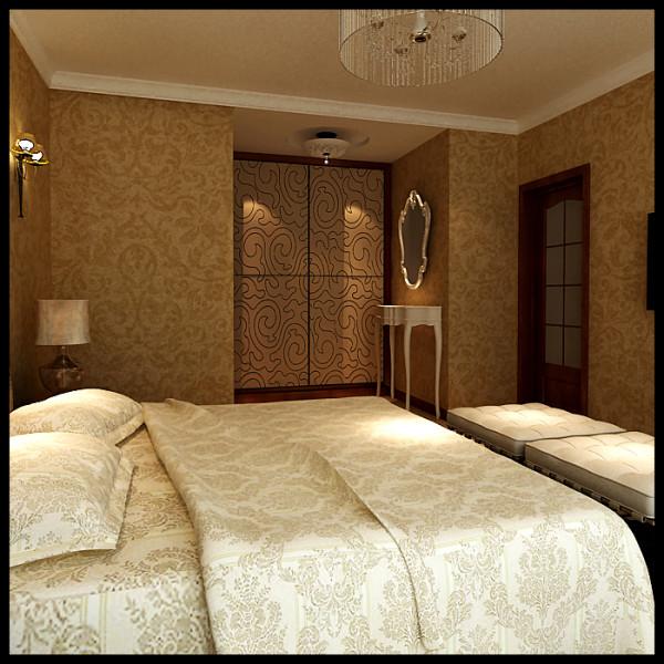 卧室入口处,设计师巧妙的利用其室内空间分布,边侧突出的位置设置了便于日常生活的更衣室,更衣室推拉门上的图案与壁纸的图案相一致,使其即统一又美观。化妆镜的位置更是充分利用其有效空间来巧妙的放置。