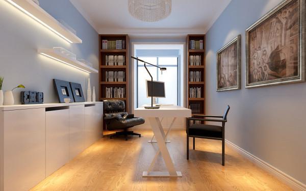淡蓝色的墙面让书房更富精神气息,淡蓝色代表运动,长时间再书房工作,希望能激起主任的动腿动手的欲望。